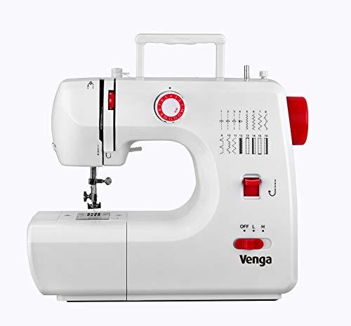 Venga! Máquina de coser 16 programas, hilo doble, 2 velocidades, con kit de accesorios mini, color blanco/rojo, VG SWM 3000