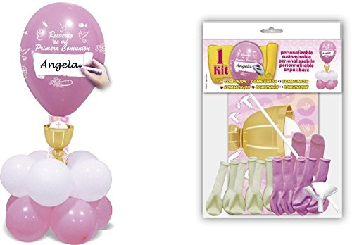 DISOK - Deco Kit Centro Comunión Rosa - Globos para Fiestas Comuniones Decoración