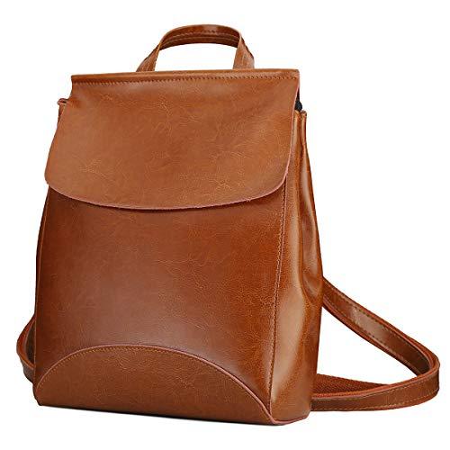 Leathario Damen Rucksack Schultertasche Echtleder - Mehrere Aufteilungen - Vintage Look - Premium Büffelleder - Freizeit Shopping Uni Schule