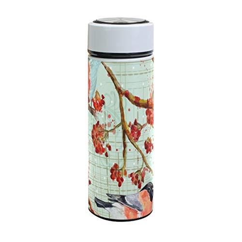 XiangHeFu Verjaardagsthermosfles houdt koude of warme bron bloemenboom Bloom Bird Travel Mok waterfles 17oz lekvrij