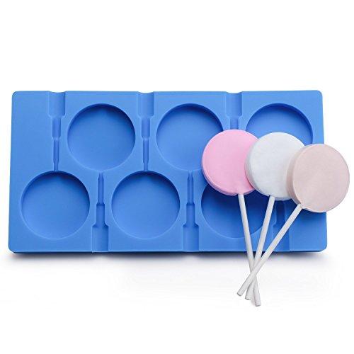 Molde de silicona para 6 piruletas grandes, caramelos, bombones, hielo, decoración de tartas, jabón, etc., incluye 50 palitos para piruletas azul