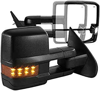 For Chevy Silverado GMC Sierra POWER FOLDING+HEAT Extended Tow Side Mirrors w/LED Turn Signal