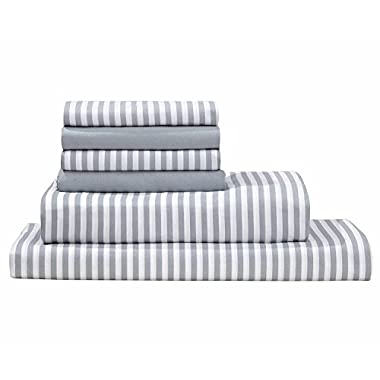 Debra Valencia Awning Striped Sheets By Duke-King-Med Cool Gray/White-6 Pc Set 2 Bonus pillowcases!