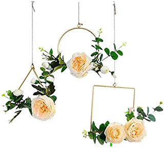 Candyqueen 3Pcs Brass Gold Geometric Metal Hanging Plant Pot Decorative Flower Pot Holder with Artificial Flower Planter Living Room Decor Gold Party & Wall Nordic Decoration
