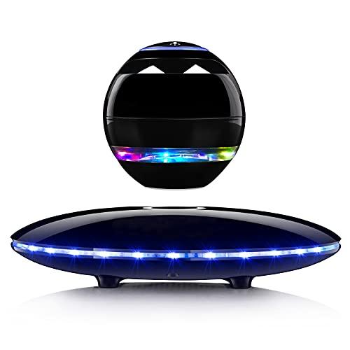 Levitating Speaker,Levitating Bluetooth Speaker,Magnetic Levitating Speaker,Portable/LED/Stereo Sound/Hand Free Call/Touch Sensor/Wireless Speakers/Built-in Mic Cool Stuff Gift (Black)