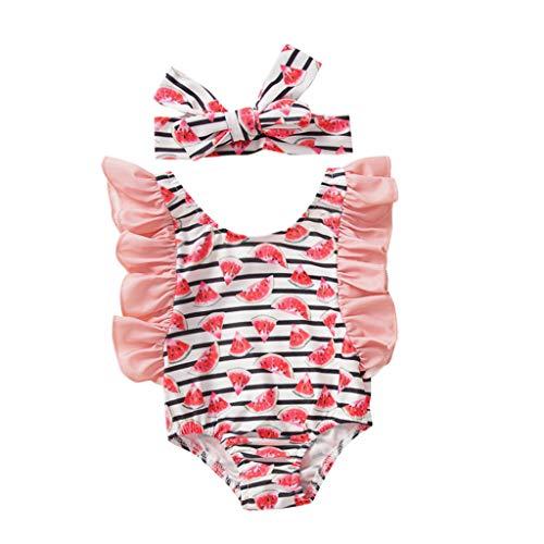 SUccess Bikini para niña con estampado de frutas, traje de baño y diadema, bonito juego de playa, vacaciones, traje de baño para verano, protección UV Rosa. 90 cm
