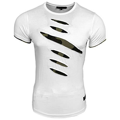 Rusty Neal Herren T-Shirt Rundhals Risse Zerrissen Camo Camouflage RN-15152, Größe:S, Farbe:Weiß