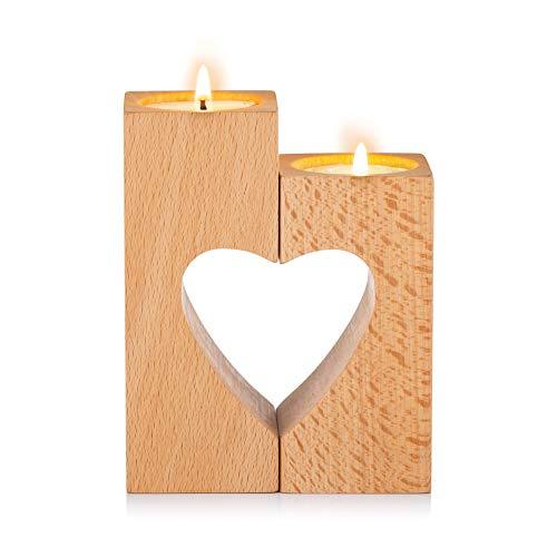 Sziqiqi Candelero de Madera del Corazón de la Unidad para Las Luces Led del Té para la Decoración de la Boda Fecha Decoración de la Mesa de la Noche, Color Natural Cubes
