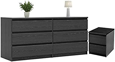 Home Square 2 Piece Dresser and Night Stand with Drawers in Black Woodgrain