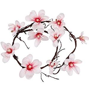 Facibom Artificial Magnolia Silk Fake Flower Orchid Flower Wall Tree Branches Rattan Flowers Vine Wedding Decoration-Pink