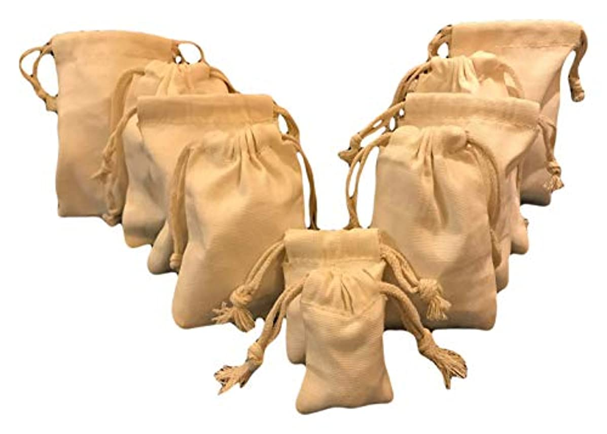 Reusable Eco Friendly Premium Quality 5x7 inches Cotton Canvas Thick Double Drawstring Muslin Bags (Natural Color)-25 Count Pack