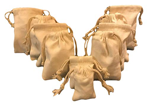 10x12 Inches Reusable Eco friendly Premium Quality Cotton Canvas Thick Double Drawstring Muslin Bags (Natural Color)-25 count pack