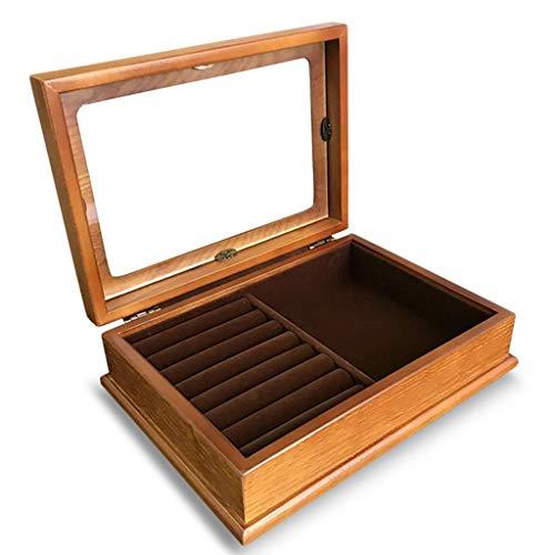 Organisateur de cosmétiques boîte à bijoux en bois rétro unique couche anneau en bois cadeau de stockage européen 193 * 268mm (couleur: B)