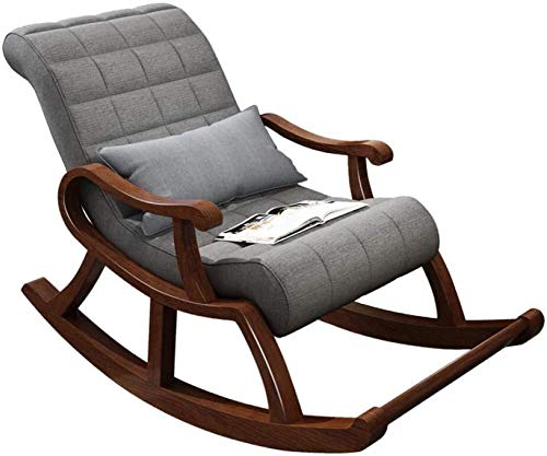 Rocking Chair Chinese Casual Old Man Chair Solid Wood Lazy Rocking Chair Getaway Chair Adult Siesta Chair Recliner Balcony Elderly Chair Light Gray (Color : Light Grey)