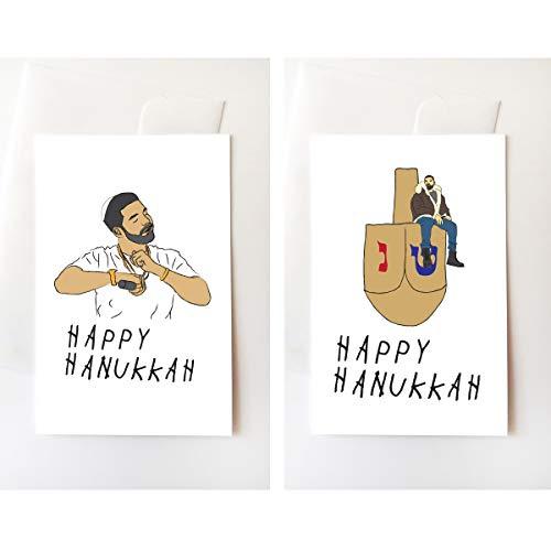 2 Pack - 6 God Happy Hanukkah Christmas Greeting Cards, Dreidel, Yamaka, Rap, Rapper