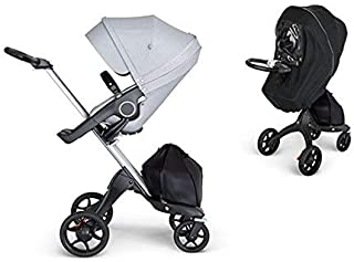 Stokke Xplory 2018 Silver Chassis & Stroller Seat in Black Melange and Black Handle With Raincover