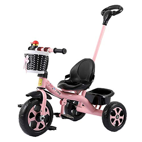 Find Bargain Kids Tricycle with Detachable Push Handle, 3 Wheel Toddlers Children Ride on Pedal Trik...