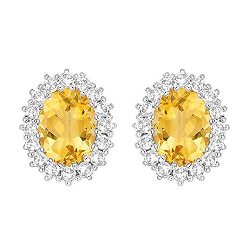 Ani's Pendientes de tuerca para mujer y niña de 1,25 quilates con halo de diamantes D/VVS1, chapados en oro blanco de 14 quilates