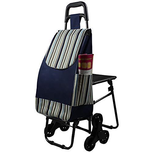 Home Climb Treppen Einkaufswagen Mit Wasserdichter Tasche, Hausdurchsuchung Mit Sitz, Stahlrahmen Einkaufswagen, Pull Rod Cart