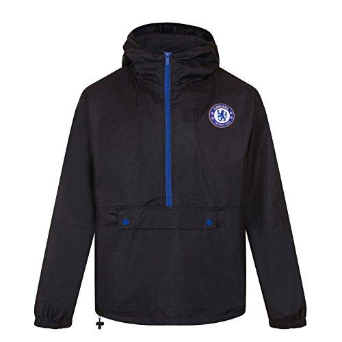 Chelsea FC - Herren Wind- und Regenjacke - Offizielles Merchandise - Geschenk für Fußballfans - Schwarz/Halber Reißverschluss - XL