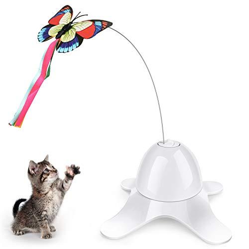 Aceshop Katze Interaktives Spielzeug Automatisch Rotierender Schmetterling Katzenspielzeug Lustige Katze Elektrisches Spielzeug mit 360° Elektrisch Rotierender Spielzeug für Katzen Kätzchen Spielen