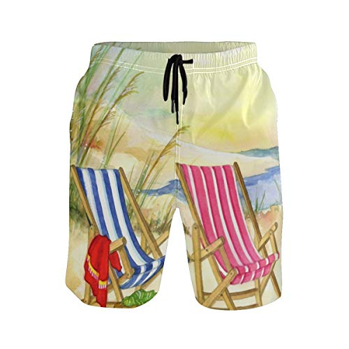 FANTAZIO Welcome Beach Sillas Seashore Sunset - Pantalones cortos de playa con cordón
