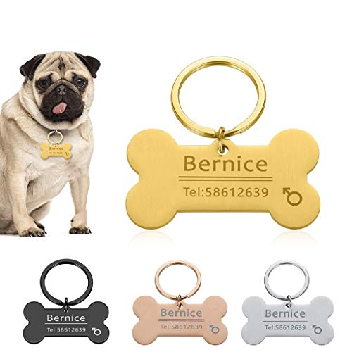 Llavero personalizado para identificación de mascotas con nombre grabado para gato, cachorro, perro, collar de etiqueta, llavero de hueso, accesorios para mascotas (color: dorado, tamaño: 50 x 28 mm)