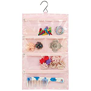 mDesign 14 Pocket Hanging Jewelry Organizer Storage Bag with Over Closet Rod Hanging Hook - Easy-View Clear Pockets with Zippers - Fabric Backing and Trim, Reinforced Top, Double Sided - Pink