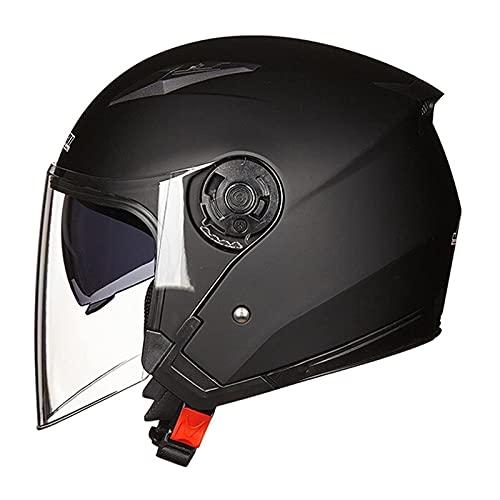 半帽ヘルメット ジェットヘルメット ハーフヘルメット 原付 メンズ レディース ダブルシールド 超軽量 紫外線防止 JK-512 Bike Helmet 男女兼用 (艶消しブラック,L)