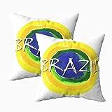 Fundas de almohada, 2 fundas de almohada hechas a mano con fondo de acuarela de 45 x 45 cm, fundas de almohada para decoración del hogar, fundas de almohada con cremallera para sofá