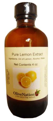 OliveNation Pure Lemon Extract for Baking, Tart Lemony Flavor for Cakes, Cookies, Icing, Filling, Terpeneless, PG Free, Non-GMO, Gluten Free, Kosher, Vegan - 8 ounces
