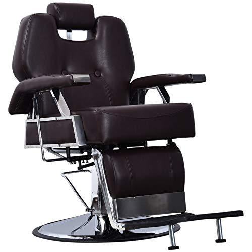 BarberPub Heavy Duty Recline Barber Chair All Purpose Hydraulic Salon Chair for Hair Stylist Spa Beauty Shampoo Equipment 8706 (Brown)