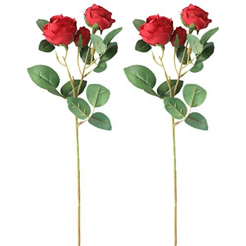 Wakauto 2 Stück Künstliche Rosensträuße Frühlingsblumen Rosenarrangement Lebensechte Blume Dekorativ für Partyhochzeitsfest Rot Und Grün