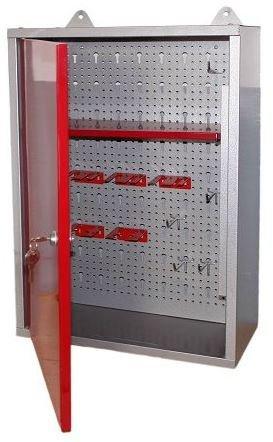 Werkstattschrank bzw. Schlüsselschrank aus Metall mit verschließbarer Tür, einem Einlegeboden, einer Lochwand sowie kratzfester Oberfläche, Maße B 40 x H 60 x T 19 cm