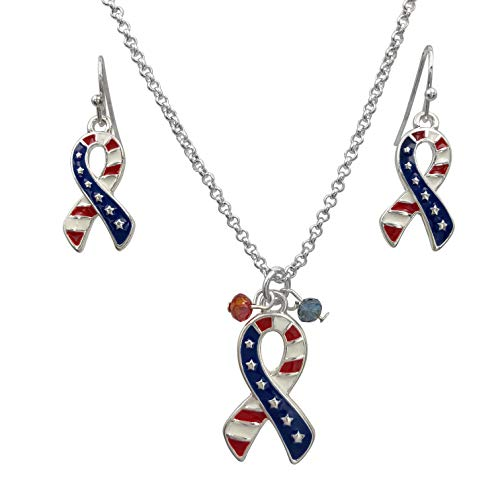 Gypsy Jewels American Flag Ribbon Red White & Blue Necklace & Dangle Earrings Set (Silver Tone)