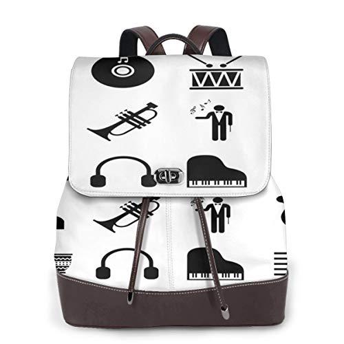 Rucksack Damen Symbol Klaviermusik Piktogramm, Leder Rucksack Damen 13 Inch Laptop Rucksack Frauen Leder Schultasche Casual Daypack Schulrucksäcke Tasche Schulranzen