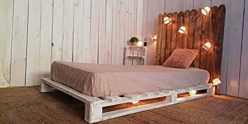 Base de Cama Matrimonial con Palets - Somier Individual con Cabecero, Base de Camas con Posibilidad de Añadir Luces, Ruedas (135x190x15 cm, Montado)