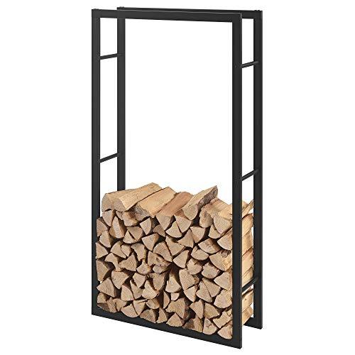 [en.casa] Soporte para leña 80 x 150 x 25 cm Estante de leña Acero Negro