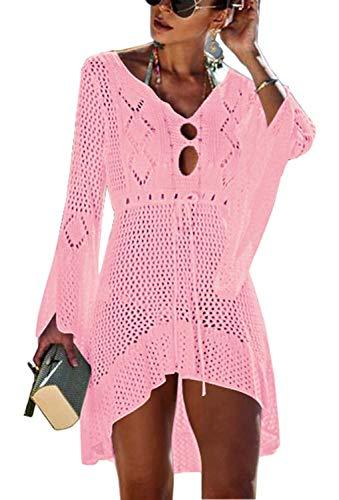 Orshoy Damen Boho Weben Einzigartig Bikini Cover Up Sommerkleid Gestrickte Strandkleid Rosa