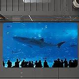 Alfombrilla de Baño Antideslizantes de 50X80 cm,Tiburón, parque del acuario japonés con silu, Tapete para el Piso Lavable a Máquina con Microfibras Suaves Absorbentes de Agua para Bañera, Ducha y Baño