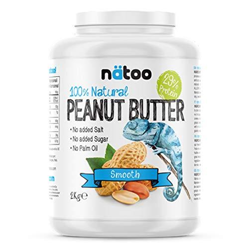 NATOO Burro d'arachidi 100% Naturale - 2kg - Peanut Butter smooth - 30% Protein
