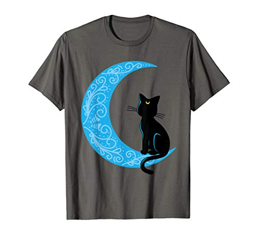 Schwarz Katze Crescent Moon Sailor Mom T-Shirt