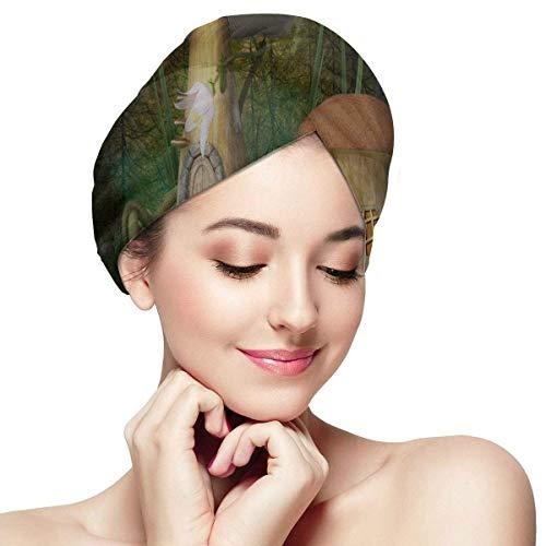 QHMY Mushroom House Forest Fairy Girl Hair Towel Wrap Hair Drying Towel Pack Soft Absorbent Dryly Hair Rapidly Hair Turban Hair Drying Cap Towel Hat to Dry Hair Short Hair Drying Towel