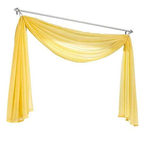 Nicole Knupfer 1er-Pack Querbehang Transparente Voile Schals Deko Einfarbige Gardinen Dekoschals Vorhang für Schlafzimmer Wohnzimmer Hochzeit (Gelb,140 * 300cm)