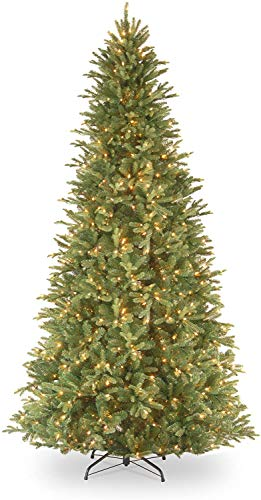 National Tree Company 'Feel Real' Pre-lit Artificial Christmas Tree | Includes Pre-strung White Lights | Tiffany Fir Slim - 9 ft