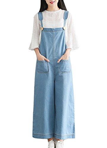 Mujer Chicas Peto Vaquero Mono Jeans Pantalones Anchos Largo Casual Elegante Fiesta Azul Claro 5XL