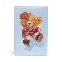 SoreSore(ソレソレ) ブックカバー a5 熊 くま ブルー バスケットボール かわいい 可愛い 皮革 レザー 文庫本 ノートカバー メモ 手帳カバー 革 A5 かわいい おしゃれ