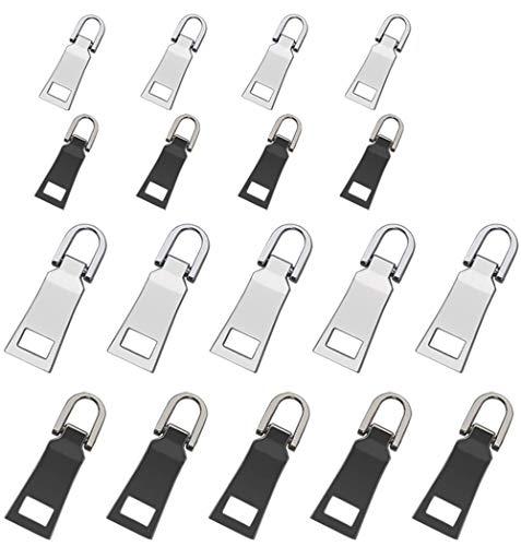 Tirador de Cremallera 18 piezas Reemplazo Cremallera Reparación de cremalleras metal cremallera Repuestos para ropa, maleta, mochila, (2 tamaños, 2 colores)