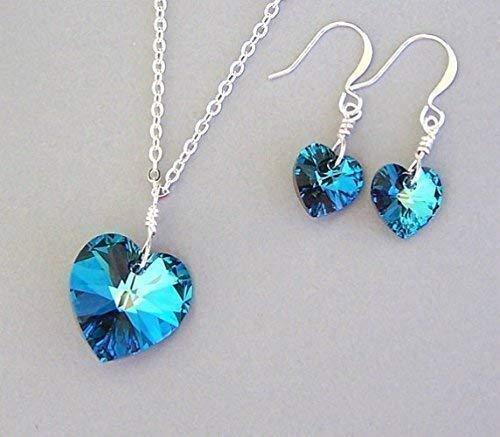 Amazon.com: Swarovski Crystal Bermuda Blue Heart Necklace and ...