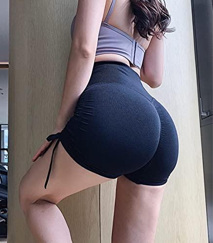 GREQ Pantalones de Running para Mujer Nuevos Pantalones Cortos de Yoga con cordón doblado de Verano para Mujer, Pantalones de Tres Puntos para Deportes Ajustados y elásticos Altos-Black_M